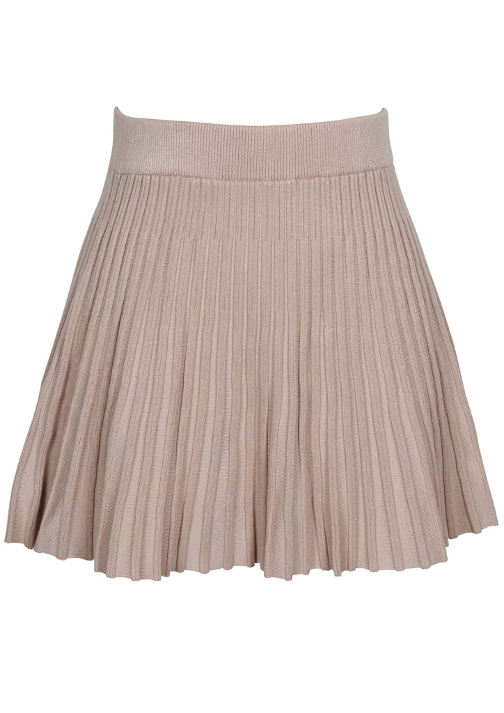 UNIKONCEPT Lifestyle boutique; image shows the Knit Mini Skirt by MinkPink. This skirt is a deep peach colour and features an elasticized waistband. There are knit details forming vertical lines down the skirt.
