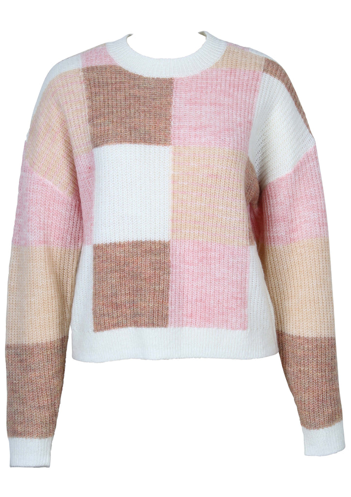 UNIKONCEPT Lifestyle boutique; image shows the Marlee Patchwork Knit by Minkpink. This long sleeve, crew neck knit sweater is made of an even square patchwork pattern in a light brown, dark brown, white and pink. The neck, bottom hem, and sleeve hems are lined with white.