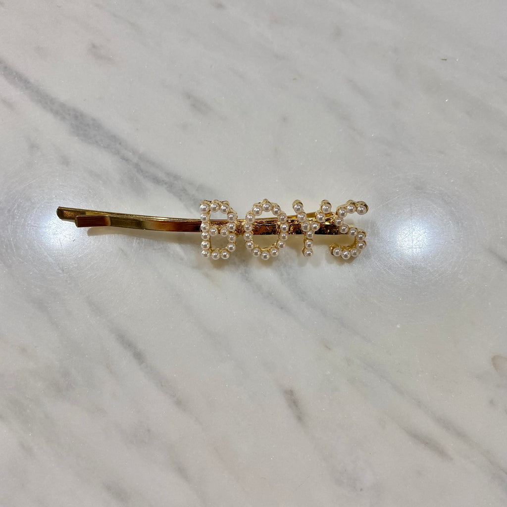 Word Hair Clips - Boys with pearls