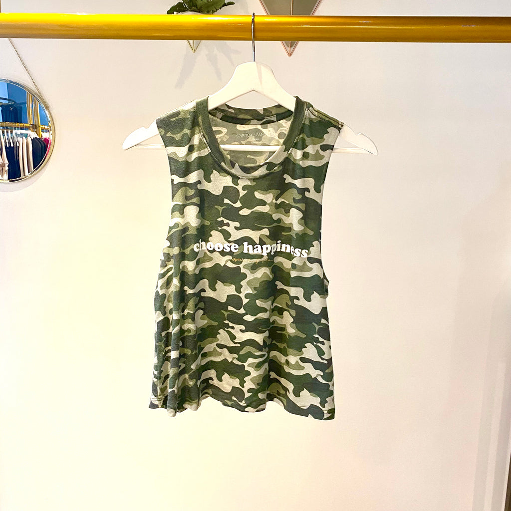 UNIKONCEPT: Lifestyle boutique; Image shows a tank style crop top by spiritual gangster. The happiness crop tank features a full camo print throughout with white lettering on the front stating 'choose happiness'.