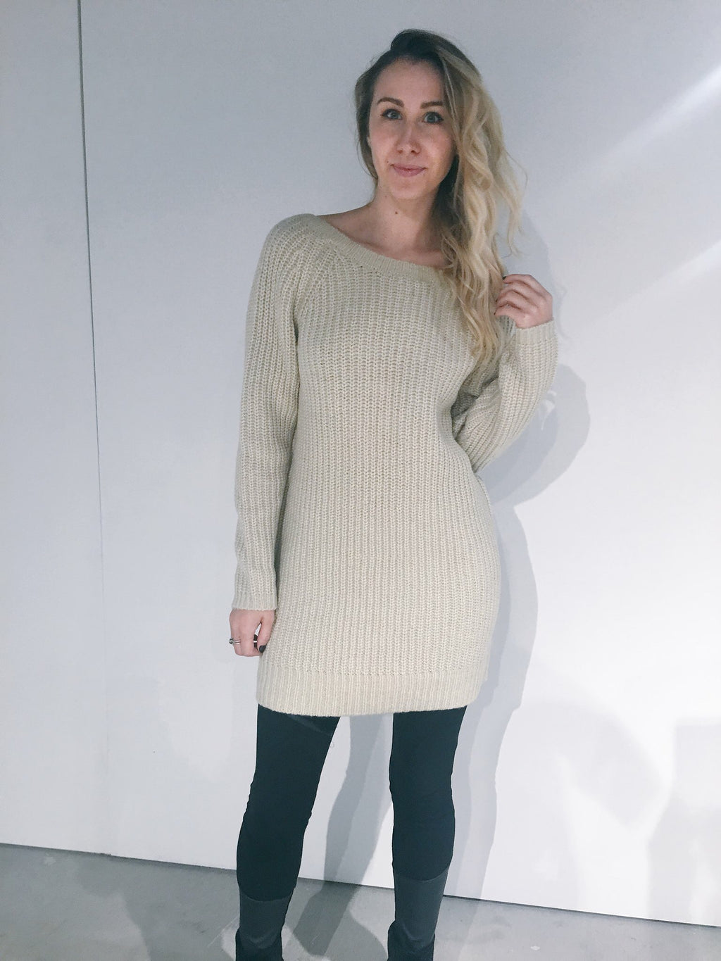 Press - Chunky Knit Dress, Deep V Back (Husked Tan)