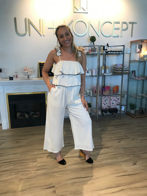Model wears a white Minkpink jumpsuit with a square neckline. The Contrast stitch jumpsuit has two large ruffles covering the chest area and pleats throughout. It has spaghetti straps with delicate ruffles on each and pockets.