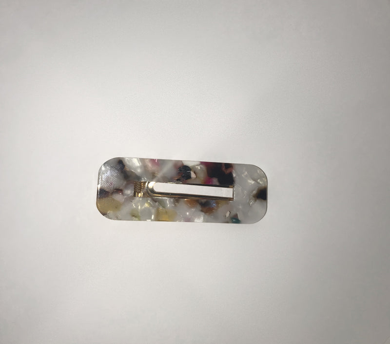 Marble Hair Clips - Light Multicolour Marble (Square)