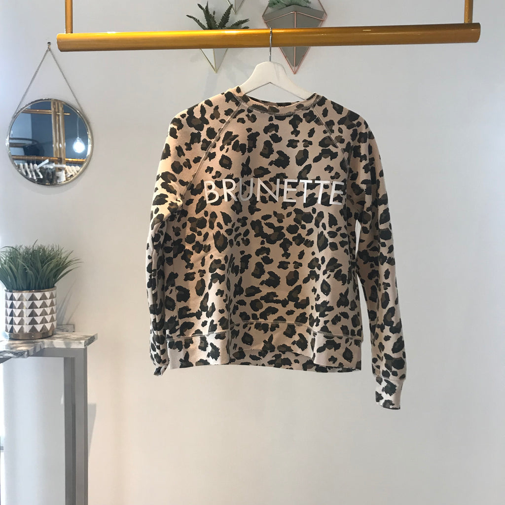 "Brunette The Label - ""Brunette"" Crew Sweatshirt Leopard"