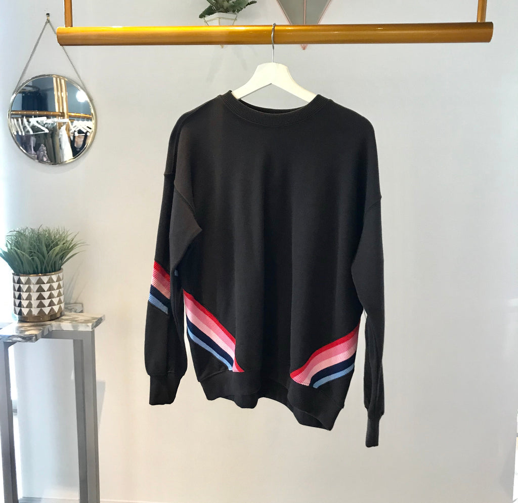 SG - Stripe Crew Neck Sweatshirt Vintage Black