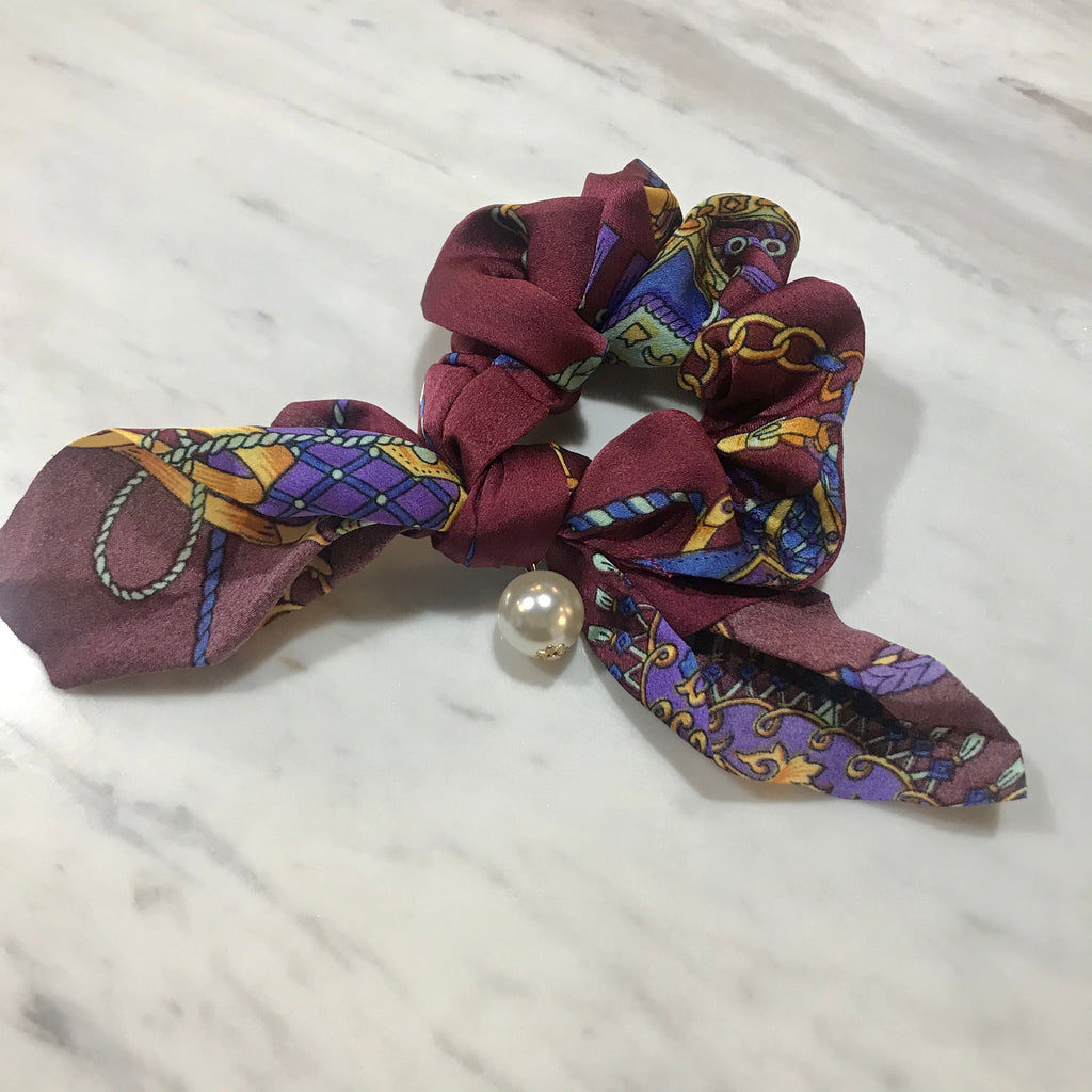 Hair Scrunchie w pearl  - Patterned mauve