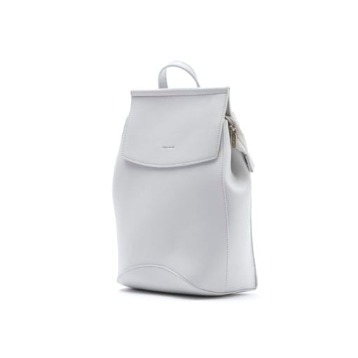 image shows a light grey backpack by pixie mood. The Kim backpack in grey has two back straps which also can be used as a singular shoulder strap.