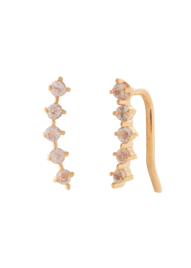 UNIKONCEPT Lifestyle boutique: image shows the Lady Ear Climber Earrings in gold rose quartz by Sarah Mulder. These little earrings feature a row of 5 rose quartz stones along a curved gold earring