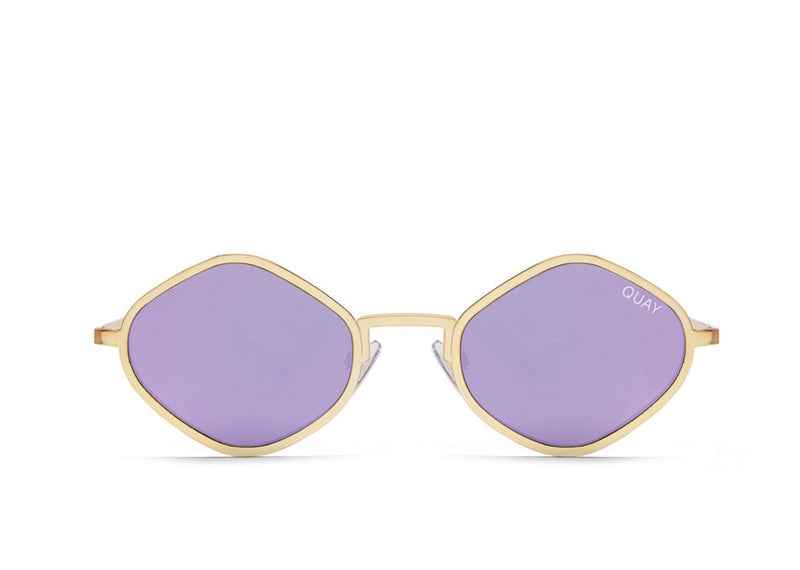 Image shows a pair of Diamond shaped frame Quay sunglasses. The purple honey sunnies come with purple lens and gold trim and arms.