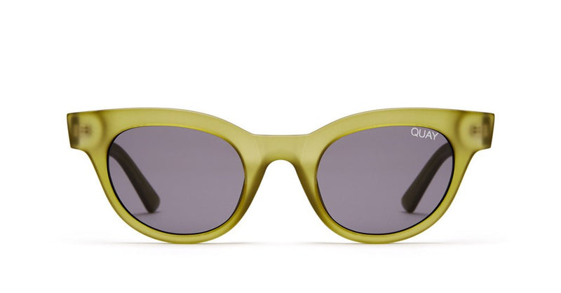 Image shows a Cat eye Quay Sunglass. The starstruck sunglass comes with olive green frame and arms and a smoke lens