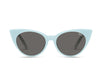 Cat eye sunglasses from Quay Australia. The Aphrodite sunglasses are pictured in mint.