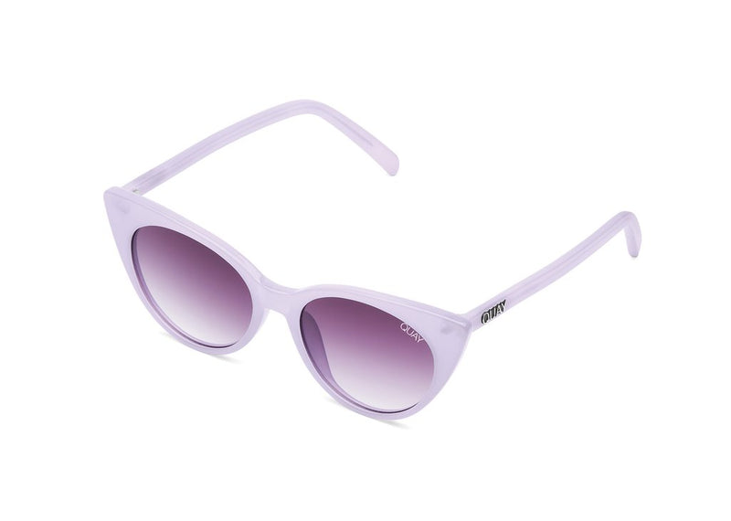 Cat eye sunglasses from Quay Australia. The Aphrodite sunglasses are pictured in violet.