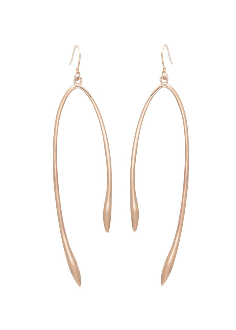 Image shows a pair of Sarah Mulder earrings. The rebel earrings are gold and have a similar shape to that of a wishbone.