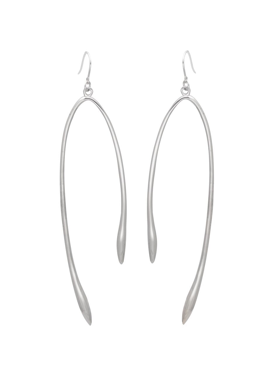 Image shows a pair of Sarah Mulder earrings. The rebel earrings are silver and have a similar shape to that of a wishbone.  They are a dangly earring