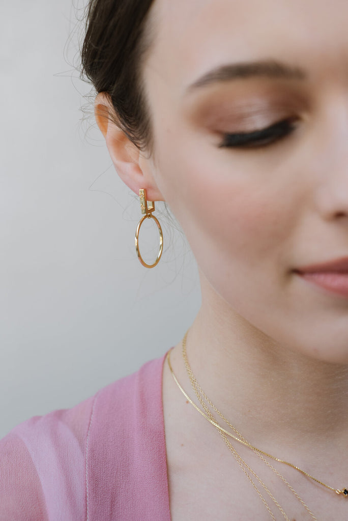 Remedy Small Hoops Gold Onyx
