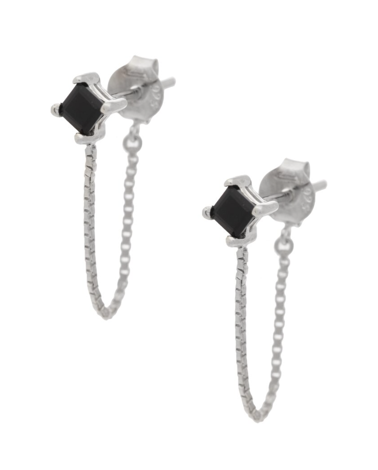 UNIKONCEPT Lifestyle boutique: Image shows the Alex Studs in  silver onyx by Sarah Mulder. These onyx studs feature a silver chain that forms a hoop look for a classic, beautiful earring.