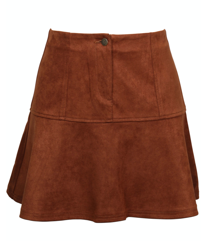 UNIKONCEPT Lifestyle boutique: The model is wearing is a suede mini skirt by Minkpink. The Alberta faux suede min skirt is an a-line styled skirt with a a beautiful cognac coloured suede.  The skirt is high waisted and fits tight around the waist and flare from the mid thigh onward.