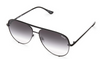 Image shows a pair of Quay Australia sunglasses. The High key sunglasses by Design Perkins are an aviator style of sunnies the styles available include a silver frame with a light grey lens and a gold frame with a green/gold polarized lens.