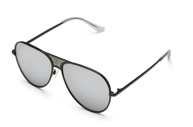 Black framed aviator style sunglasses with silver reflective, gradation lens.