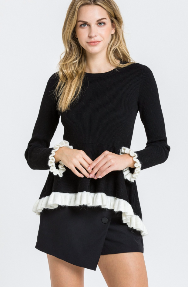 ER - JackieO Peplum Sweater (black)