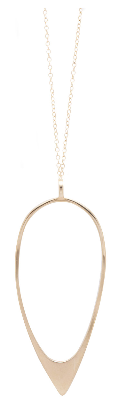 image shows a gold long necklace with a teardrop. The Sarah mulder scrim necklace in gold is a thin chain with a thin tear drop figure that has more material at the tip of the drop.