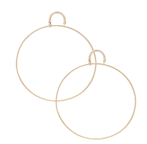 Image shows a pair of Sarah Mulder earrings. The henny earrings in large gold are front facing large hoops with a c shaped attachment that sits on the ear lobe.