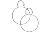 Image shows a pair of Sarah Mulder earrings. The henny earrings in small silver are front facing small hoops with a c shaped attachment that sits on the ear lobe.
