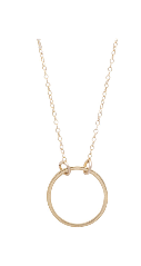 Image shows a thin gold Sarah mulder necklace. The Sunday necklace features a short gold chain with a hoop attached to the chain.