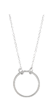 Image shows a thin silver Sarah mulder necklace. The Sunday necklace features a short silver chain with a hoop attached to the chain.
