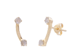 Image shows a pair of Sarah mulder earrings. The Muse studs are gold curved studs with two semi precious gemstones, one at either end.