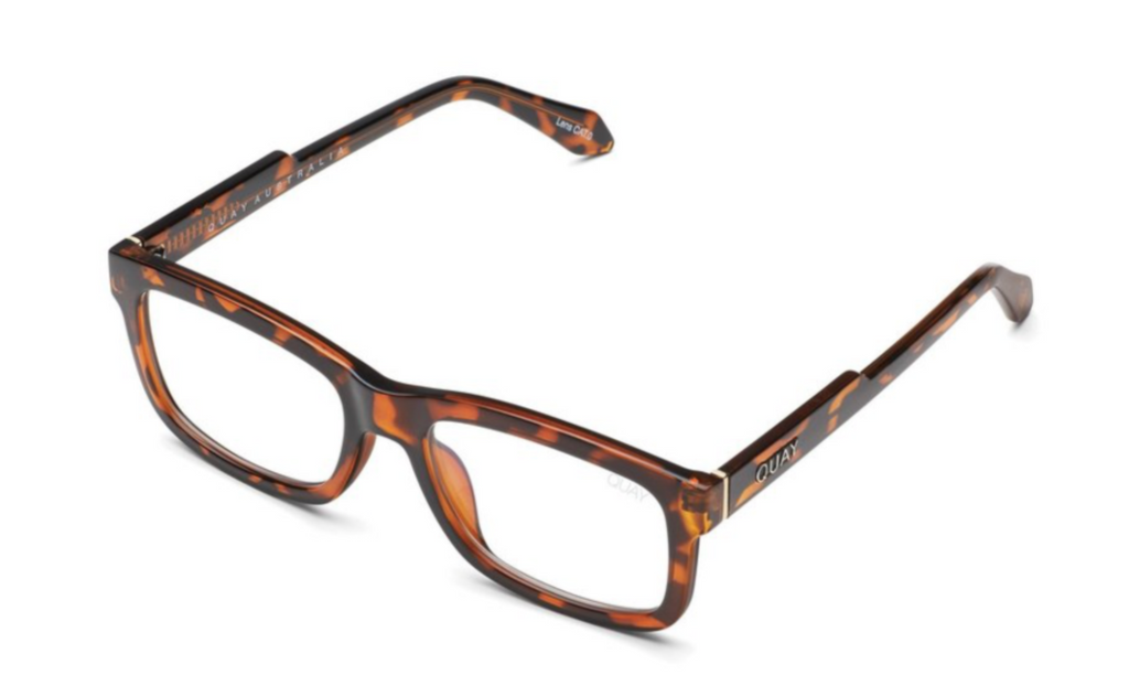 UNIKONCEPT: Lifestyle boutique; Image shows a pair of blue light glasses by Quay. The Beatnik blue light glasses feature a clear lens with a tortoise shell frame and a rectangular style of sunglass.