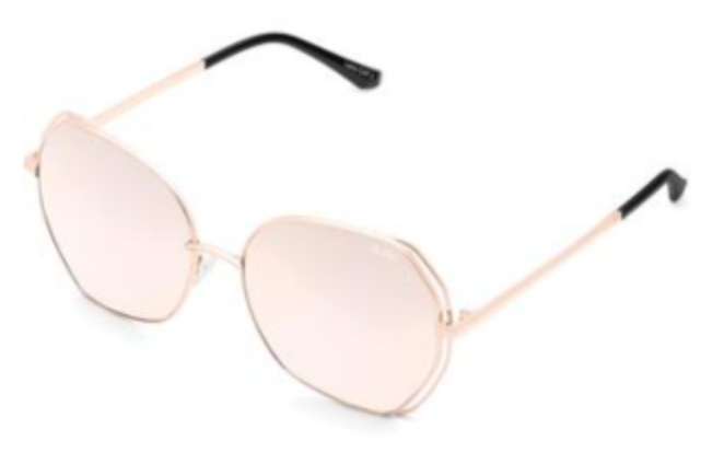 UNIKONCEPT: Lifestyle boutique; Image shows a pair of rounded framed Quay sunglasses. The big love sunglasses in rose gold featuring a rose gold coloured lens with a rose gold geometric frame, It has a double layer of metal wiring around the side of the frame.