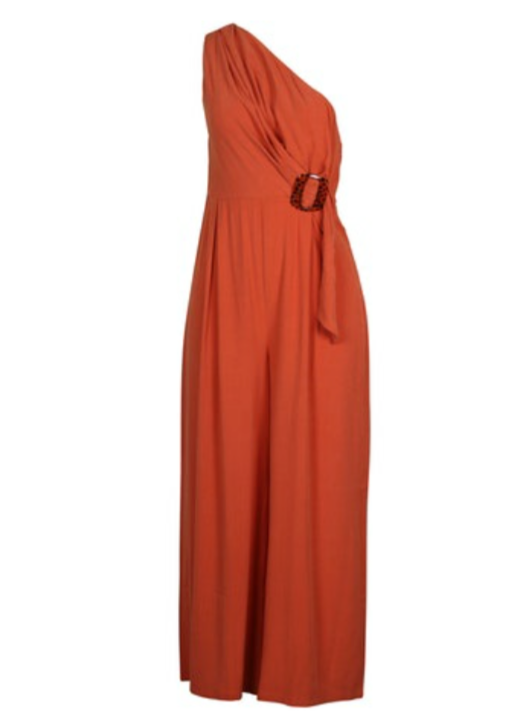 UNIKONCEPT Lifestyle boutique: Image shows the One Shoulder Jumpsuit in a burnt orange by MinkPink. Thus one shoulder bodysuit features a fitted bodice and free flowing, full length pants. The waist of the jumpsuit features a tie detail with a brown clasp accent.