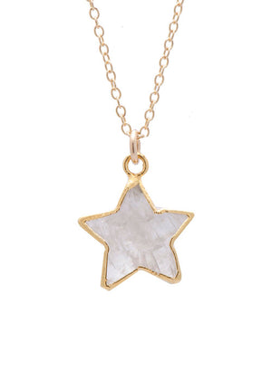 Image shows a gold Sarah mulder necklace. The stargazer necklace is a thin gold chain with a semi precious gemstone star pendant
