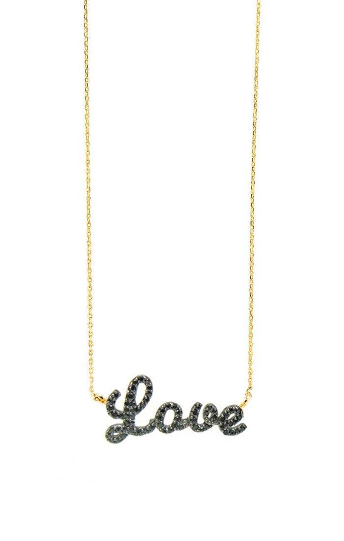 "UNIKONCEPT Lifestyle boutique: Image shows a thin gold Tai necklace. The love necklace features a yellow gold chain with a black diamond pendant in cursive writing it reads ""love""."