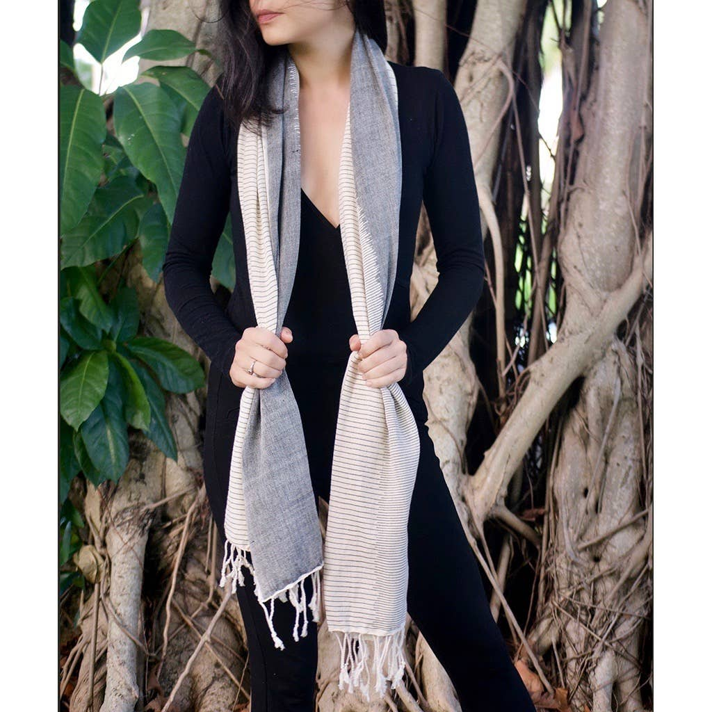 Slate + Salt - Striped Organic Cotton Scarf