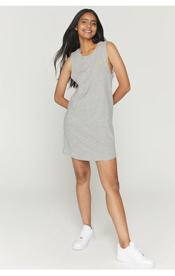 "UNIKONCEPT: Lifestyle boutique; Image shows a grey coloured muscle tank tee shirt dress by Spiritual Gangster. The Happiness Muscle Tank Dress features a scoop neckline dress with muscle tank styled short sleeves. It also features yellow embroidery on the left side of the chest that says ""choose happiness""."