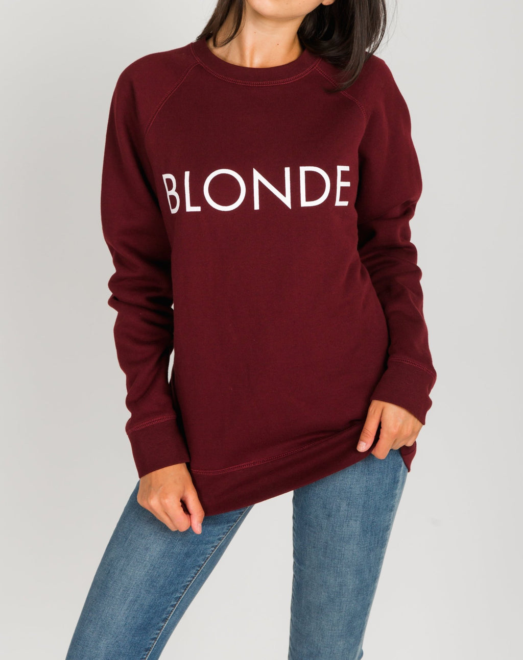 "Brunette The Label - ""Blonde"" Crew Sweatshirt Burgundy"