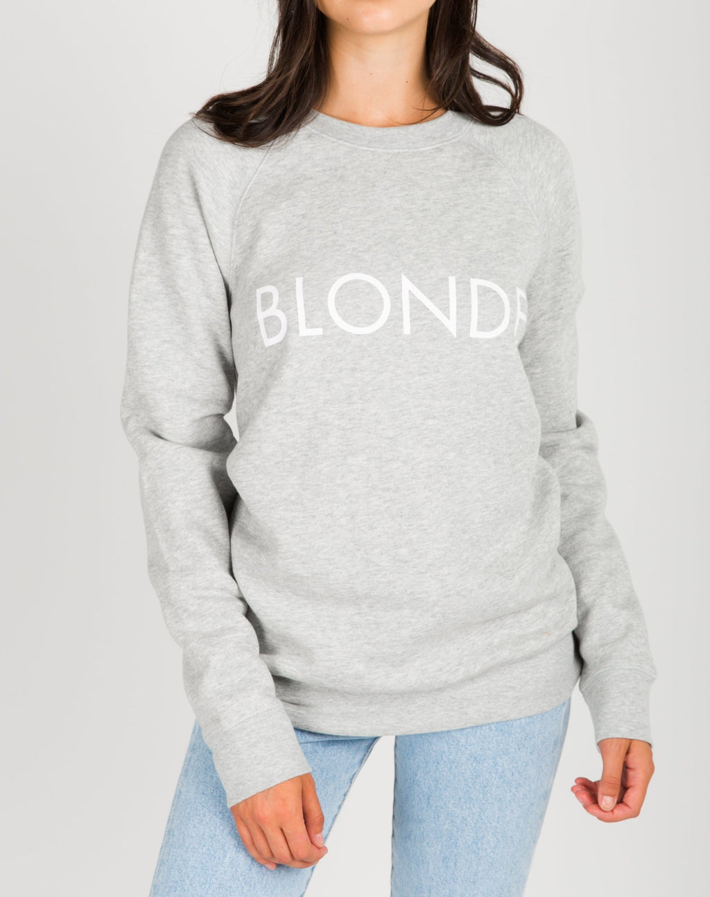 "Brunette The Label - ""Blonde"" Crew Sweatshirt Pebble Grey"