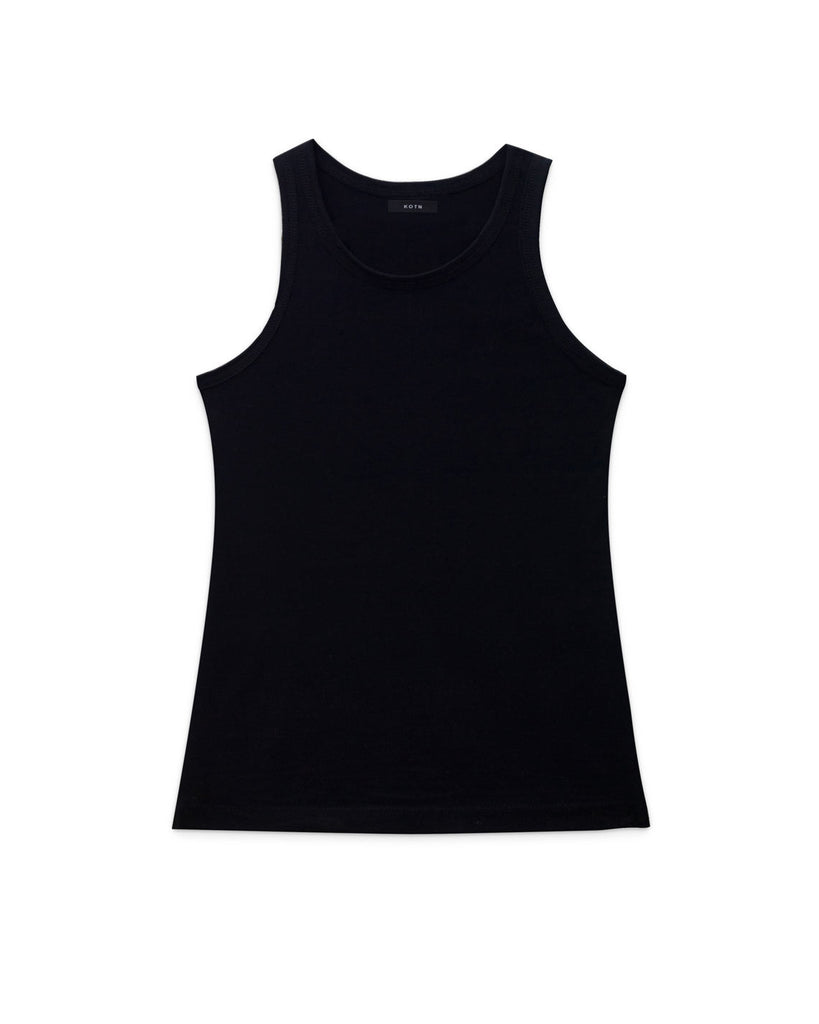Flat lay of Black, High neck slim KOTN Tank Top.