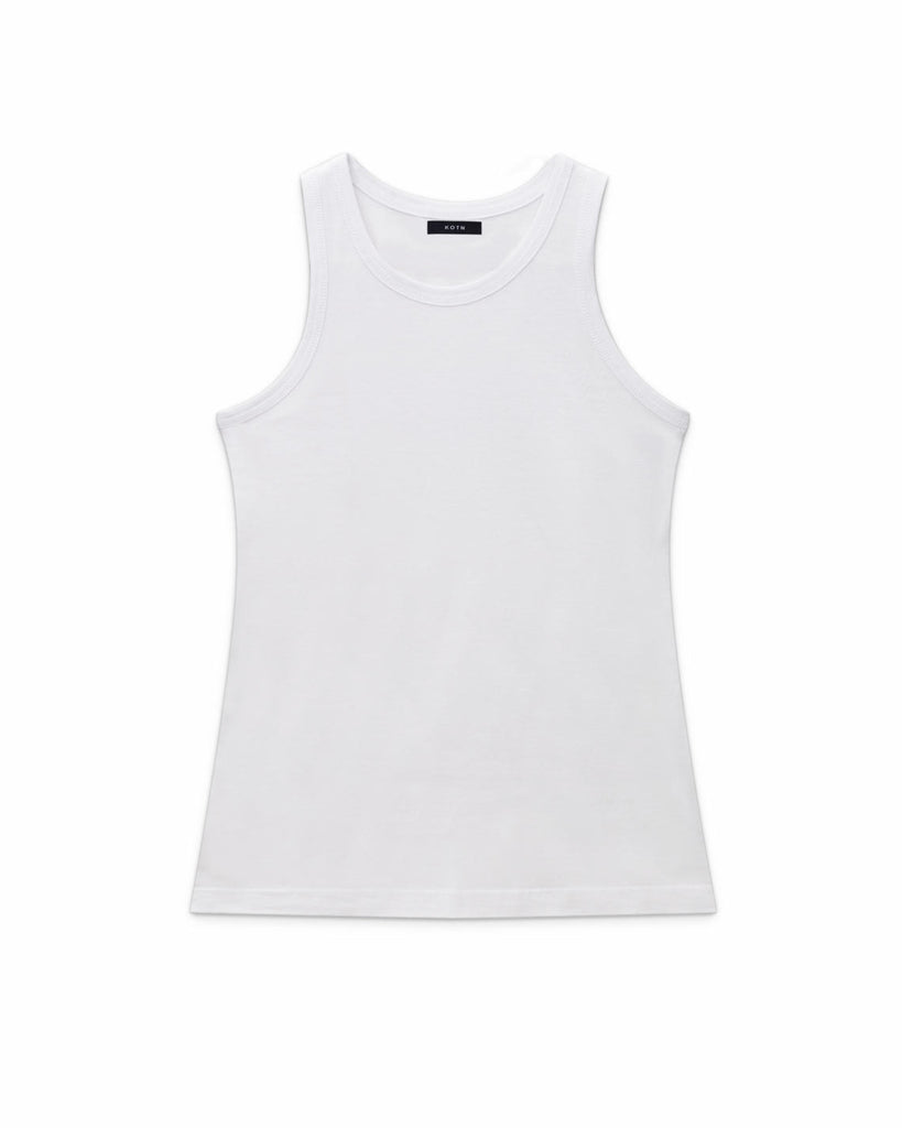 Flat lay of White, High neck slim KOTN Tank Top.