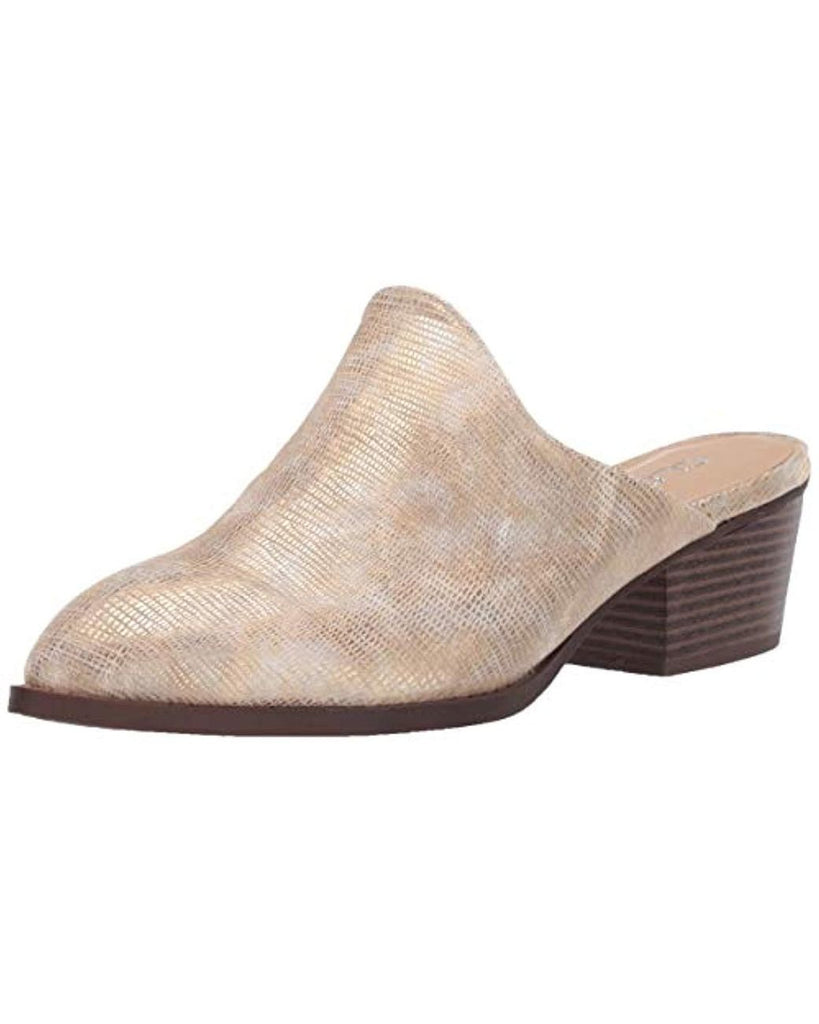 UNIKONCEPT Lifestyle boutique: image shows the Catherin Mule in a gold reptile print by Chinese Laundry. This mule has a low block heel and closed toe.