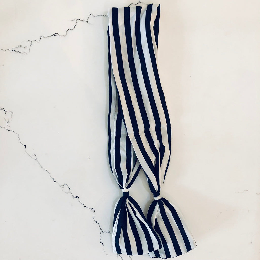 UNIKONCEPT Lifestyle boutique: Hair Ribbons with hidden wire inside chiffon fabric. This navy and white thick striped hair ribbon features small ties at the end to give a bow look when secured on your head.