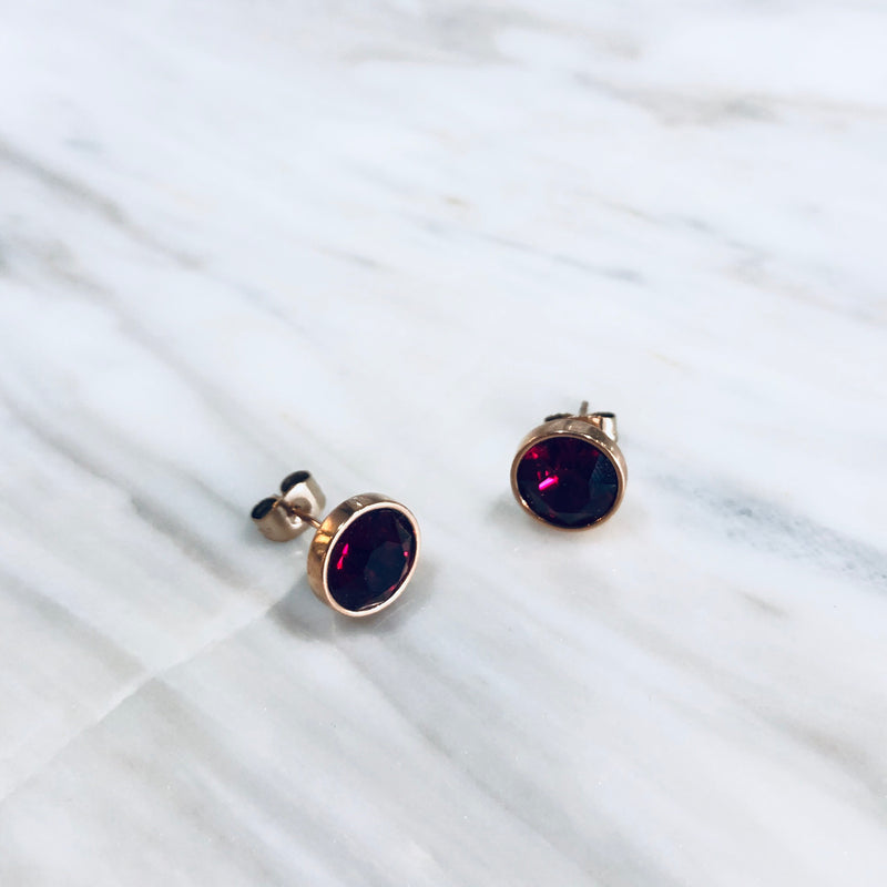 Fab - Luxe Swarovski Ruby Studs (rose gold)
