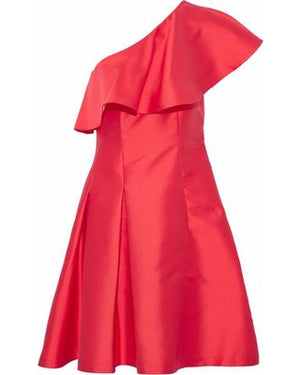 Close-up of crimson red, structured, one-shoulder dress.