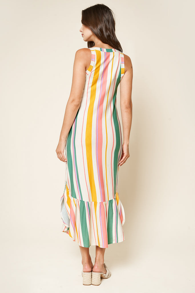 UNIKONCEPT Lifestyle boutique; image shows the Taste the Rainbow Midi Dress by SugarLips. This loose fitting midi dress features spaghetti straps, a square neckline, and a ruffle hem with side slits. The fabric is composed of vertical stripes of different sizes primarily in white, yellow, pink and green.