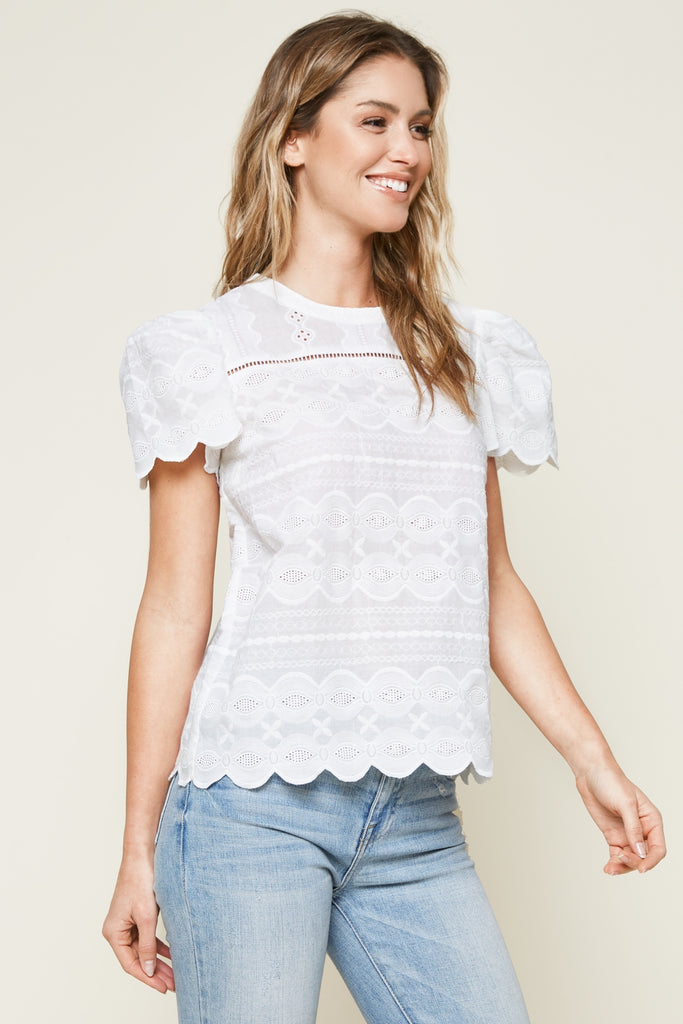 UNIKONCEPT: Lifestyle boutique; image shows a white scalloped sleeve blouse by sugar lips. The so dreamy scallop top features a scoop neckline and white lace throughout the blouse.