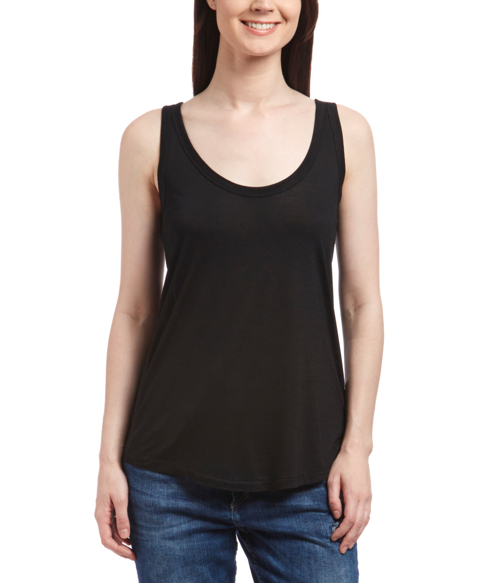 Model is wearing black, loose fitting, scoop neck, tank top designed by Nanavatee.