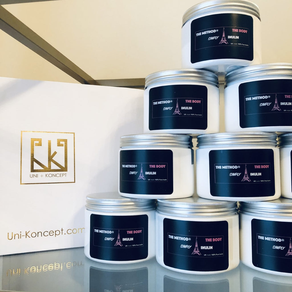 UNIKONCEPT lifestyle boutique: Images shows a white container with a black The method simply inulin label. The 100% inulin sold at UniKoncept features a white granulated powder inside the clear jar that is used for weight loss and the promotion of a healthy gut.
