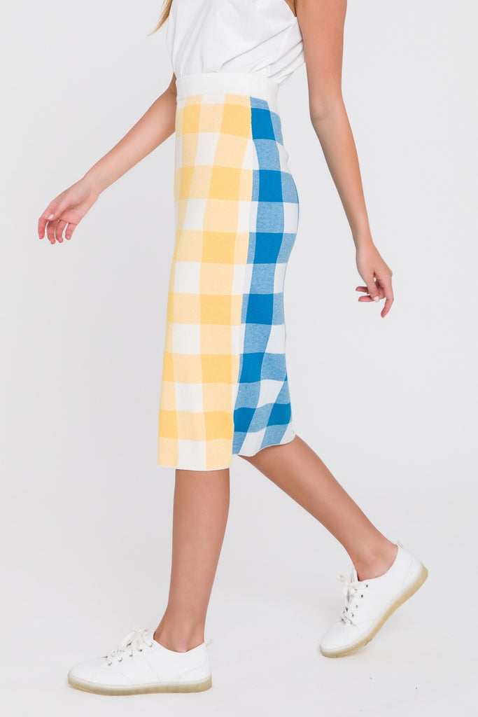 UNIKONCEPT Lifestyle boutique: Model is wearing a gingham print pencil skirt. The jasmine colour black skirt is made from a stretchy knit material. The front gingham print is a pale yellow and the back is a bright blue. The skirt is high waisted that is a midi length hitting the model right at the knees. This skirt was made by the Los Angeles designer, English Factory.  Edit alt text